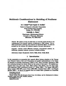 Multiscale Considerations in Modeling of Nonlinear Elastomers H.T. ...