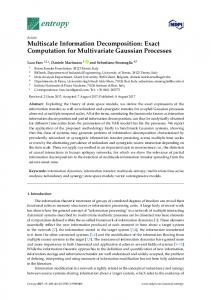 Multiscale Information Decomposition: Exact Computation for ... - MDPI