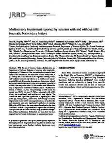 Multisensory impairment reported by veterans with ... - Semantic Scholar