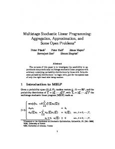 Multistage Stochastic Linear Programming