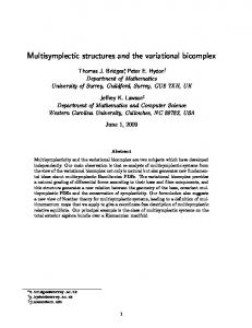 Multisymplectic structures and the variational ... - Semantic Scholar