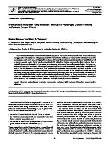 Multivariable Mendelian Randomization: The Use of Pleiotropic ...