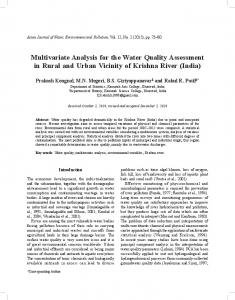 Multivariate Analysis for the Water Quality Assessment in ... - IOS Press