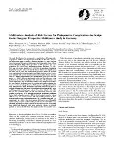 Multivariate Analysis of Risk Factors for Postoperative Complications ...