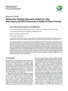 Multivariate Multiple Regression Models for a Big Data-Empowered ...