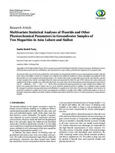 Multivariate Statistical Analyses of Fluoride and Other ...