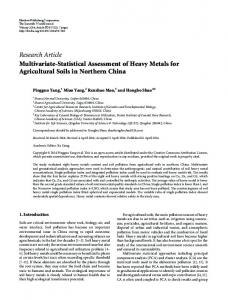 Multivariate-Statistical Assessment of Heavy Metals for Agricultural ...