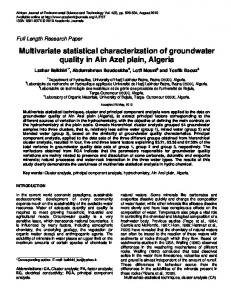 Multivariate statistical characterization of groundwater quality in Ain ...