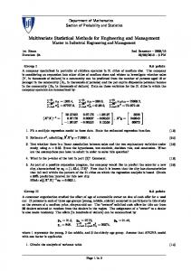 Multivariate Statistical Methods for Engineering and Management