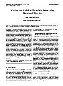 Multivariate Statistical Methods in Researching Biocultural Diversity