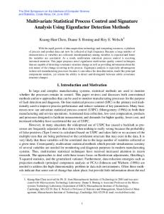 Multivariate Statistical Process Control and Signature ... - CiteSeerX