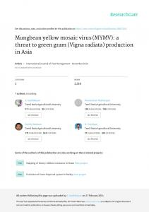 Mungbean yellow mosaic virus \(MYMV\): a threat to green gram ...
