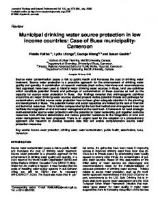 Municipal drinking water source protection in low ... - Academic Journals