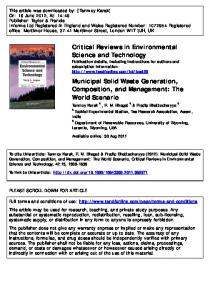 Municipal Solid Waste Generation, Composition, and ...