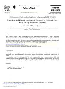 Municipal Solid Waste Incineration: Recovery or ...