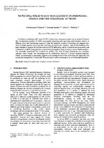 MUNICIPAL SOLID WASTE MANAGEMENT IN INDONESIA: STATUS ...