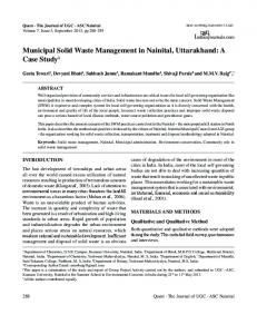 Municipal Solid Waste Management in Nainital