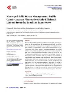 Municipal Solid Waste Management - Scientific Research Publishing