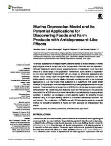 Murine Depression Model and its Potential ... - Semantic Scholar