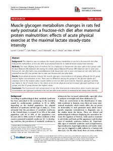 Muscle glycogen metabolism changes in rats fed