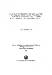 muscle strength, gross motor function and gait pattern in ... - GUPEA