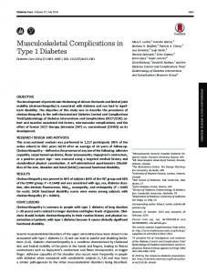 Musculoskeletal Complications in Type 1 Diabetes - Diabetes Care