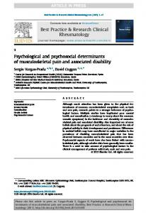 musculoskeletal pain and associated disability