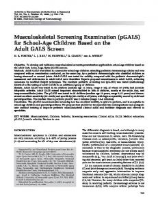 Musculoskeletal screening examination (pGALS) - Wiley Online Library