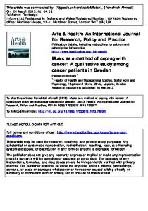Music as a method of coping with cancer: A qualitative