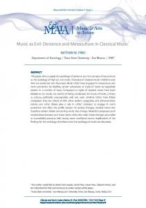 Music as Evil: Deviance and Metaculture in Classical Music*