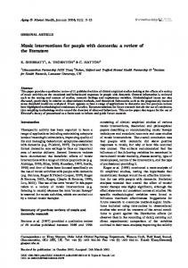 Music interventions for people with dementia: a review of ... - CiteSeerX