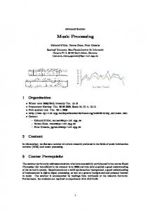 Music Processing - Max Planck Institute for Informatics