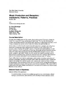 Music Production and Reception: - The Ohio State University