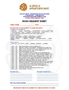 Music Request Sheet - 2 Plus 2 Entertainment