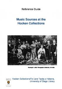 Music Sources at the Hocken Collections
