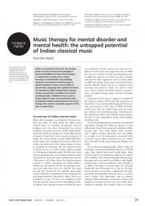 Music therapy for mental disorder and mental health: the untapped ...
