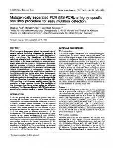 Mutagenically separated PCR (MS-PCR): a highly ... - Europe PMC