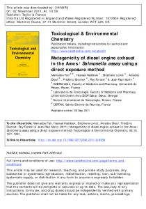 Mutagenicity of diesel engine exhaust in the Ames ...