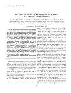 Mutagenicity Studies of Benzidine and Its Analogs: Structure-Activity ...