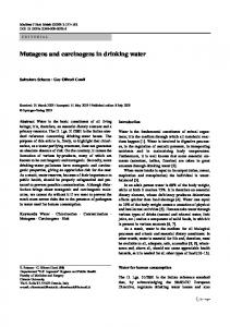 Mutagens and carcinogens in drinking water - Semantic Scholar