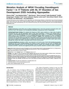 Mutation Analysis of NR5A1 Encoding Steroidogenic ... - ScienceOpen