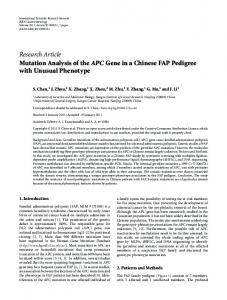 Mutation Analysis of the APC Gene in a Chinese FAP Pedigree with ...