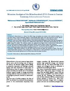 Mutation Analysis of the Mitochondrial tRNA ... - Semantic Scholar