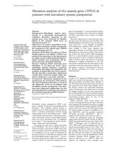 Mutation analysis of the spastin gene (SPG4) in patients with ... - NCBI