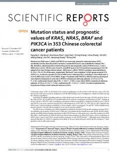 Mutation status and prognostic values of KRAS ...
