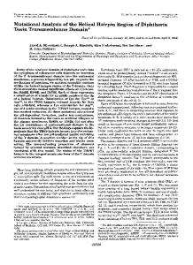Mutational Analysis of the Helical Hairpin Region of Diphtheria Toxin ...