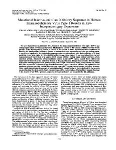 Mutational Inactivation of an Inhibitory Sequence ... - Journal of Virology