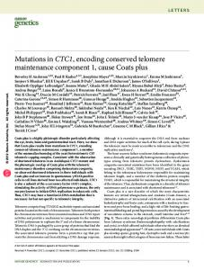Mutations in CTC1, encoding conserved telomere maintenance ...