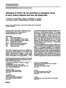 Mutations in G6PC2 do not contribute to monogenic ... - Springer Link