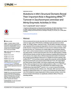 Mutations in Mtr4 Structural Domains Reveal Their ... - Semantic Scholar